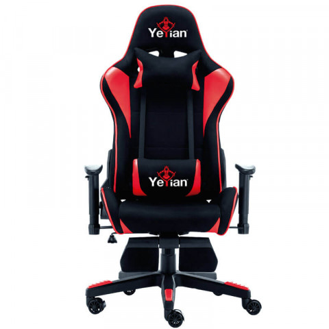 Gaming Chair Yeyian YAR-900R Brave, reclining 4d, footrest, black&red, fabric-trimmed up to 330 lb
